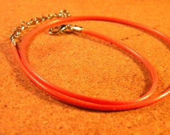 45 cm Choker - leather-orange-AC6 waxed cotton