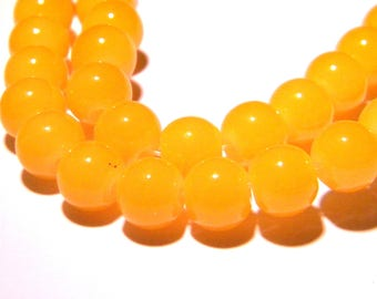 "20 glass beads 8 mm ""jade"" - yellow - 16 PG243 way"