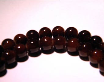 marbled glass - 8 mm chocolate slightly mottled Brown - PG54 50 beads