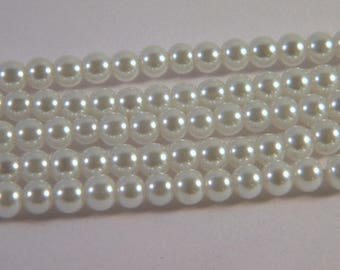 "strand of 100 beads style glass ""Pearl"" white 4 mm C8"