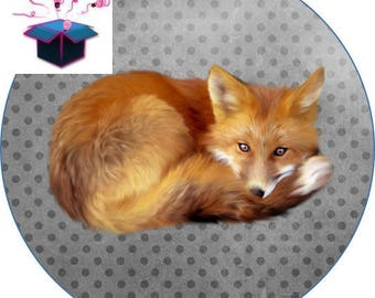 1 cabochon clear 25 mm theme animal Fox