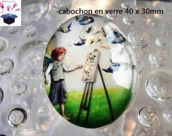 1 cabochon 40x30mm glass
