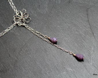 Long necklace or beaded silver plated necklace purple gray glass