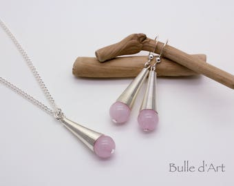 Rose Quartz stones cone pendant necklace