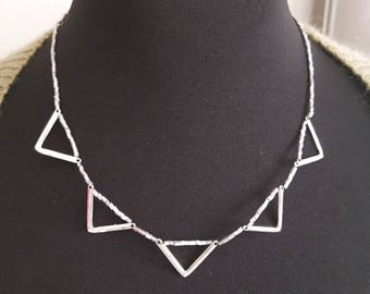 triangle pattern silver metal Choker necklace