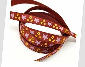 1 meter of 9mm - Burgundy satin ribbon / stars 2 colors