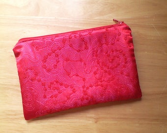 Zippered Cosmetic Makeup Bag, Toiletries Purse, Pencil Case, in Red and Pink Embroidered Beaded Fabric, Fully Lined