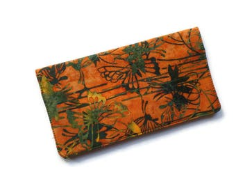 """Fabric Checkbook Cover 6.5""""x3.5"""", Coupons Wallet, Cash Holder Orange and Green Batik"""