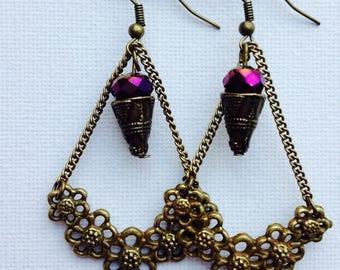 Retro earrings romantic earrings dangle Pearl Plum Gold reflection