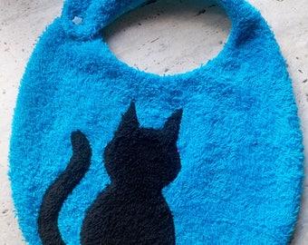 Original black cat pattern blue Terry cloth bib