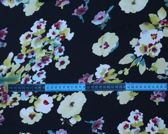 Coupon polyester fabric black miprime flowers multicolored 90 cm x 148 cm