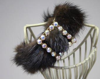 Fur mink Brown, swarovski rhinestone clasp bracelet