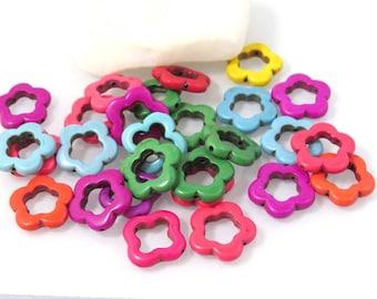 set of 26 resin beads, flower shape