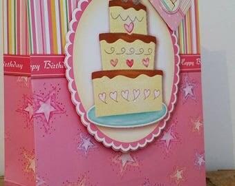 Large happy birthday cake gift box