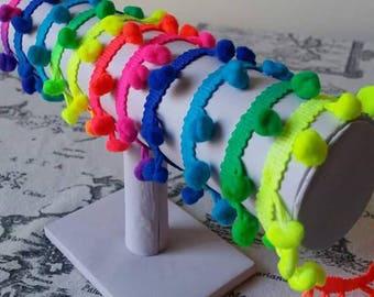 1 metrex Ribbon stripe with neon multicolored PomPoms