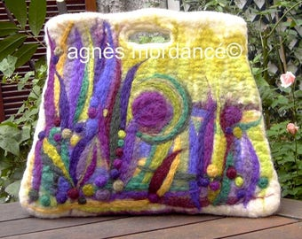 "Large bag felted wool ""Trapèzia"" - needle felted - OOAK"