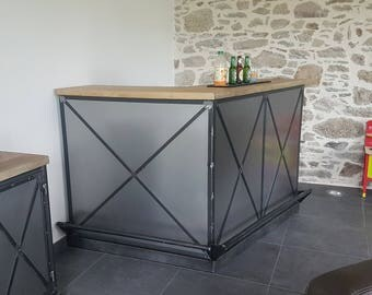 Industrial style solid pine and steel bar