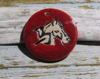 Handcrafted ceramic pendant Chinese horoscope horse red glitter