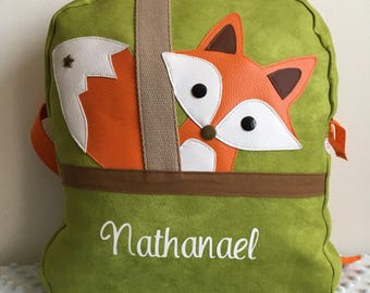 Backpack model Fox - suede / leather / cotton - green olive/orange/taupe