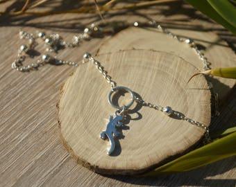 Silver lizard necklace