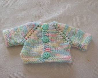 clothes for dolls of 32 33 cm, with babies or paola reina:gilet knitted by hand
