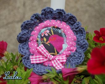 "Textile brooch ""my lovely bird rose"""