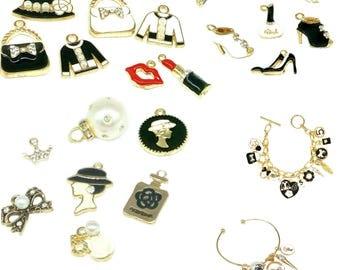 Charms For Bracelet, Dangle Charms Bag Charm, Charm Shoes, Tower Charms, Lady Pendant, Pendant Blouse, Making Bracelet, 5PCS, Mix 21 PCS