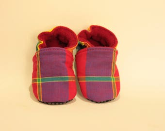 Soft cotton baby booties madras and fleece * custom *.