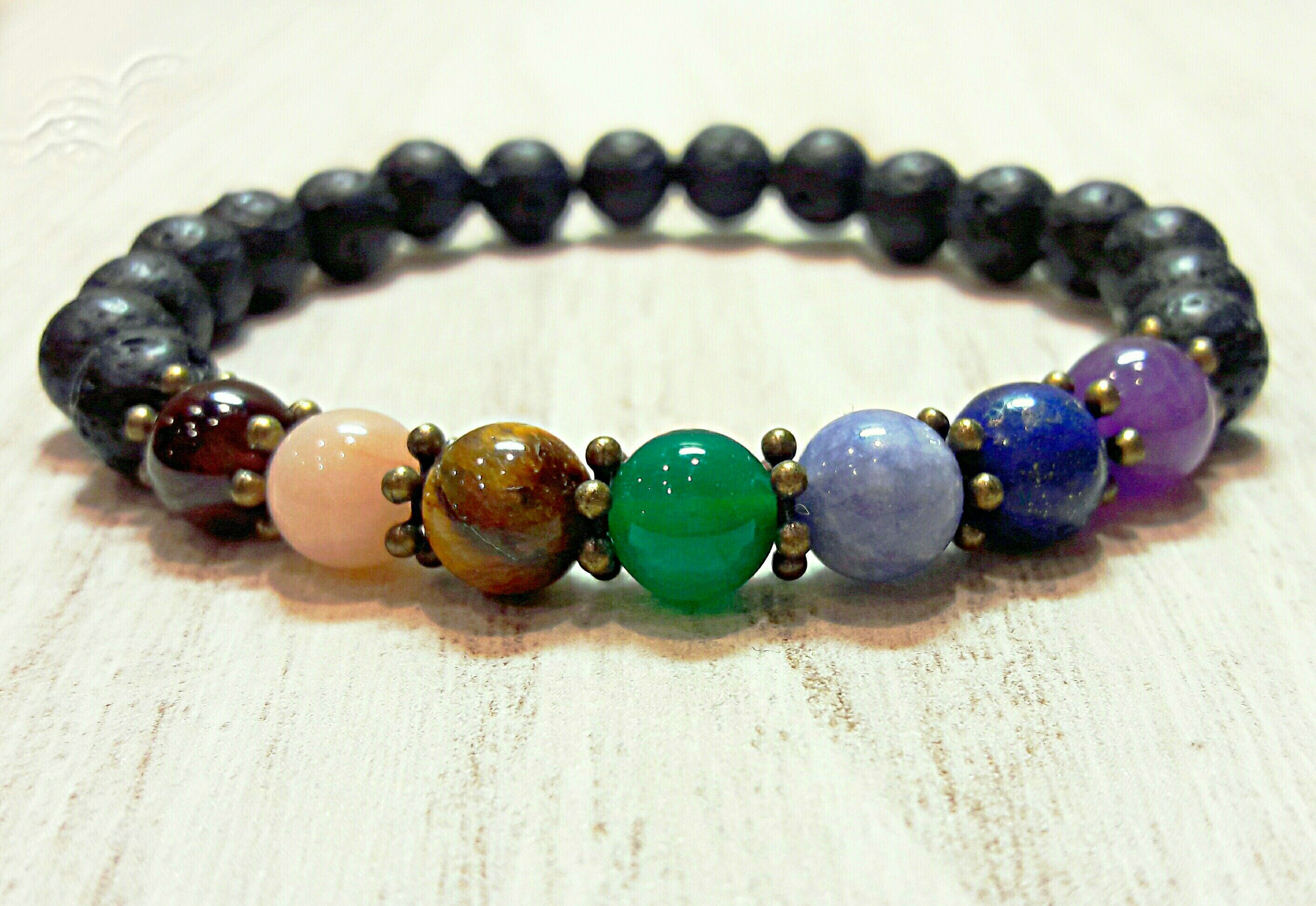 7 Chakra Bracelet Yoga Jewelry Men Beaded Bracelet Mens Lava