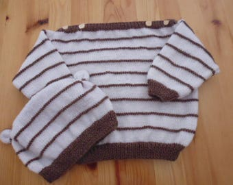 Overall sweater and hat Brown and white 12-18 months
