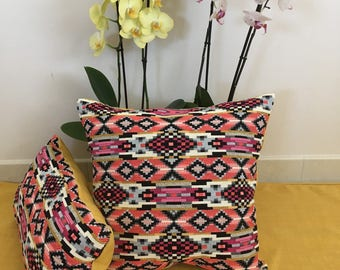Pink and yellow pillow cover