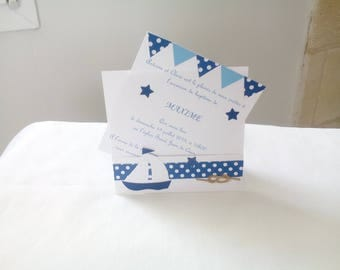"baptism, white and blue ""sea theme"" invitation + envelope"