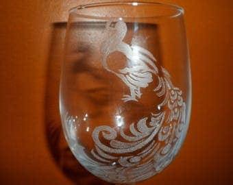 6 glasses footed glass Peacock customizable etching