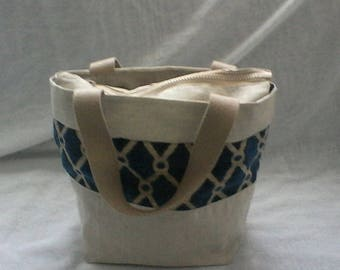 Canvas and tapestry handbag