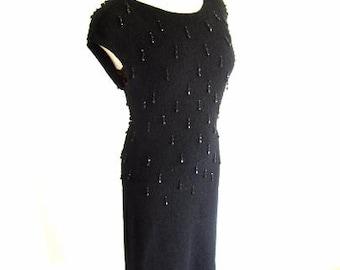 M L 50s Beaded Knit Nubby Sweater Dress Wool Gloria Knitwear Jet Dangle Beads LBD Medium Large