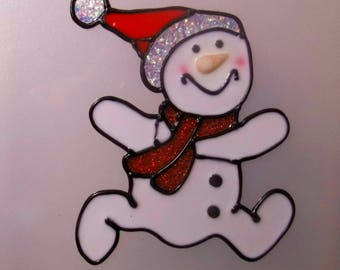 CHRISTMAS DECORATION WINDOW VITROSTATIQUE EMBOSSED RUNNING SNOWMAN 10CM