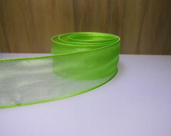 25MM green ORGANZA Ribbon-(rsve325d)