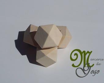 Wooden Hexagon bead natural 2.5 * 2.5 cm.