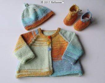 Ensemble bébé bleu orange vert 1/3 mois