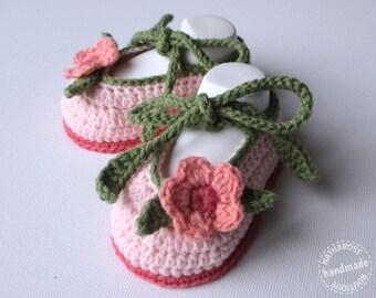 Chaussons bébé ballerines 1/3 mois rose et vert