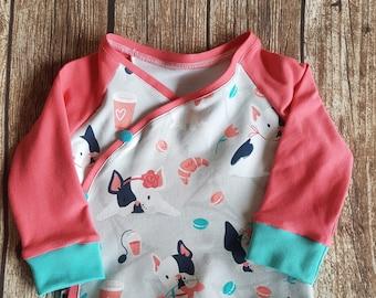 Baby wrap shirt French Bulldog size 74