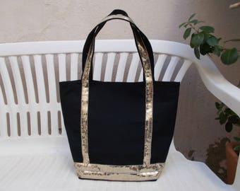 Golden black stripe cotton canvas tote bag