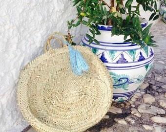 ESME- Round Moroccan Straw Basket - Ibiza French Market Shopper- Beach Bag- Leather Handle- Handmade Wool Tassel - Bohemian Hippie Style -