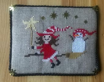 little witch and Christmas snowman Christmas frame