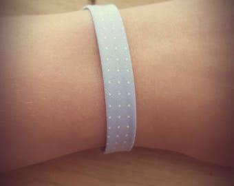 Bracelet light blue polka dots fabric
