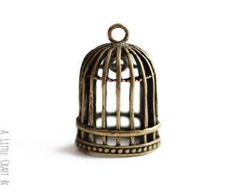 """1 pendant """"bird cage"""" - bronze"""