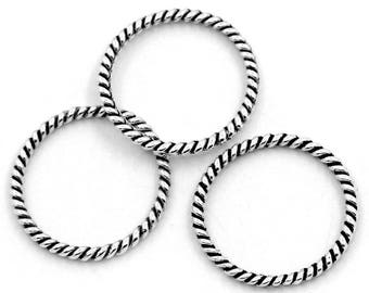 5 circles rings silver plated metal connectors