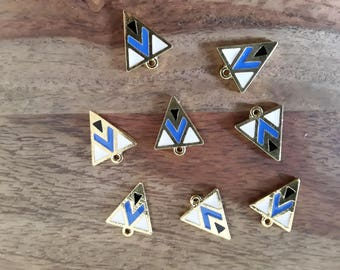 Golden blue, black and white geometric patterned triangle charms
