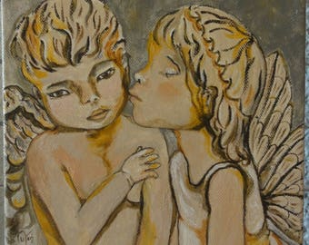 "Painting series ""Angels"" boy and girl: the kiss. Acrylic on Canvas 3D 20 x 20"