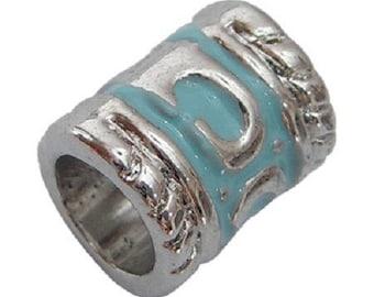 4 beads/Charms enamel blue Platinum color alloy